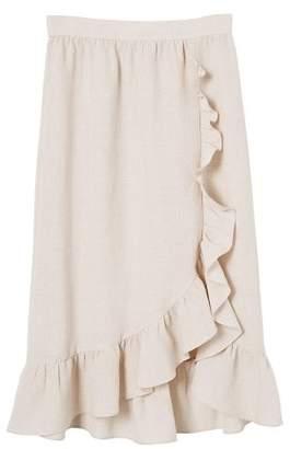 MANGO Midi ruffled skirt