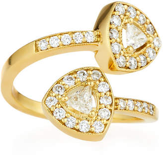 Penny Preville 18k Trillion-Cut Diamond Bypass Ring Size 6