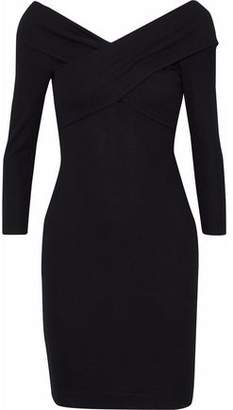 L'Agence Fantina Twist-Front Ribbed-Knit Dress