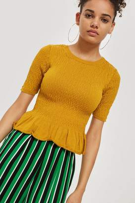 Topshop Shirred Knitted T-Shirt