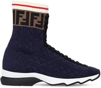 Fendi 30mm Logo Stretch Knit High Top Sneakers