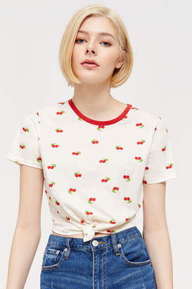 Ardene Cherry Knotted Cropped T-shirt