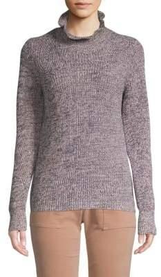 Joie Adaliz Ruffled-Mockneck Cotton Cashmere Sweater