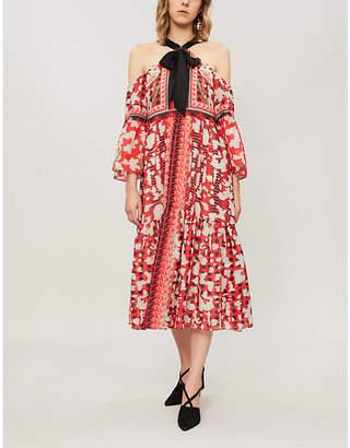 Temperley London Odyssey cold-shoulder printed chiffon midi dress