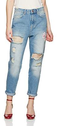 New Look Women's Floral 5124699 Straight Jeans (Mid Blue), (Manufacturer Size:8)