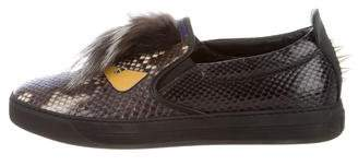 Fendi Python Monster Fur-Accented Sneakers