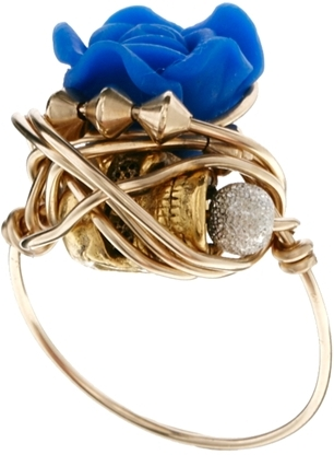 """Kat&Bee Freira """"Sister"""" Flower And Stardust Bead Wrap Ring"""
