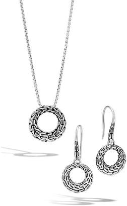John Hardy Classic Chain Sterling Silver Circle Earrings & Pendant Necklace Set