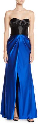 Naeem Khan Colorblocked Taffeta-Skirt Slit-Leg Gown
