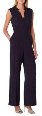 Tahari Arthur S. Levine Notch-Neck Pinstripe Crepe Jumpsuit