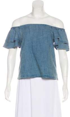 Alice + Olivia Off-The-Shoulder Chambray Top