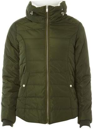 Dorothy Perkins Womens Petite Khaki Faux Fur Collar Puffer Jacket