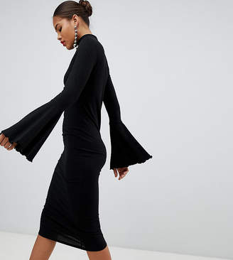Asos Tall DESIGN Tall midi bodycon dress with flared sleeves