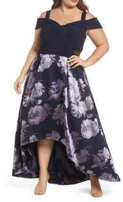 Xscape Evenings Off the Shoulder Brocade High/Low Dress