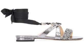 Monique Lhuillier embellished wrap sandals