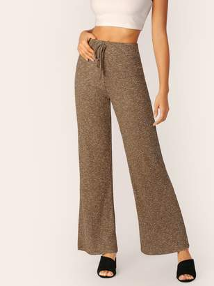 Shein Knot Waist Wide Leg Marled Pants