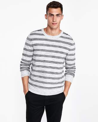 Express Textured Stripe Crew Neck Sweater