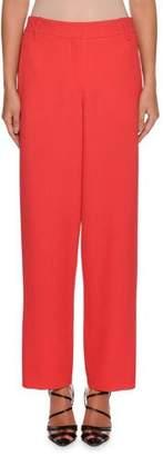 Giorgio Armani Waffle-Weave Zip-Front Wide-Leg Wool-Blend Pants