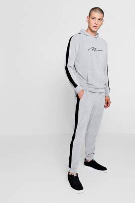 boohoo MAN Signature Velour Tracksuit With Side Panel