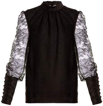 Lanvin Band-collar semi-sheer floral-lace blouse