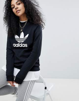 adidas adicolor Trefoil Oversized Sweatshirt In Black