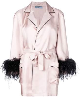 Prada twill robe coat