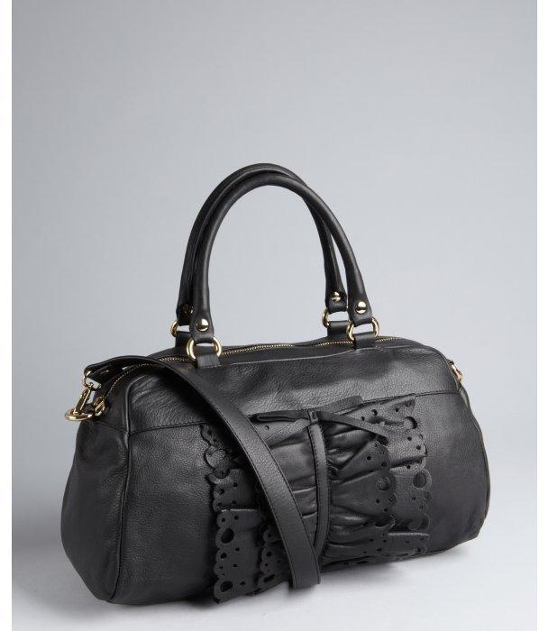 RED Valentino black leather ruffled detail crossbody bag