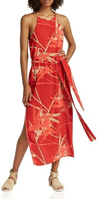 HALSTON HERITAGE Abstract-Print Belted Slip Dress $275 thestylecure.com