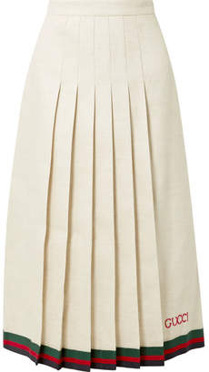 Gucci Pleated Embroidered Linen And Silk-blend Midi Skirt - Ivory
