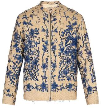 By Walid Floral Embroidered Quilted Silk Jacket - Mens - Blue Beige