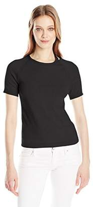 Minnie Rose Women's Short Sleeve Fitted Sweater with Shoulder Detail
