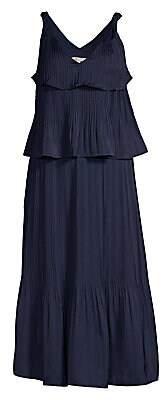 Maje Women's Tiered Pleated Midi Dress