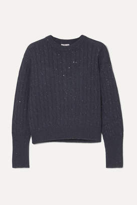 Brunello Cucinelli Sequin-embellished Cable-knit Cashmere And Silk-blend Sweater - Midnight blue