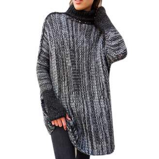 747fe76b4635 Qiyun Women Long Sleeve Mosaic Turtleneck Wool Sweater Tunic Tops Jumper  Pullovers