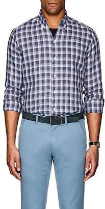 Luciano Barbera Men's Plaid Linen Shirt