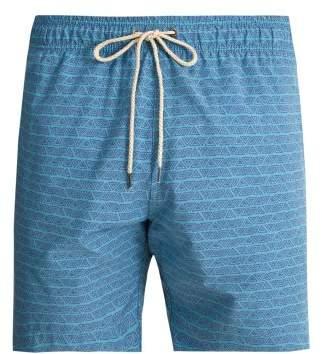 Faherty Beacon Triangle Print Swim Shorts - Mens - Blue