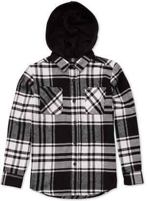 Volcom Big Boys Shader Plaid Hooded Shirt