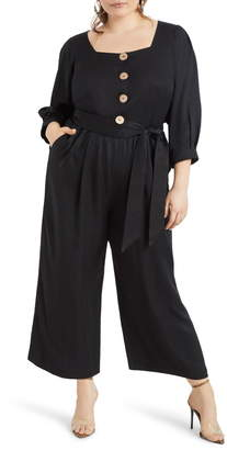 ELOQUII Button Front Crop Wide Leg Jumpsuit