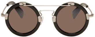Yohji Yamamoto Black Round Double Bridge Sunglasses