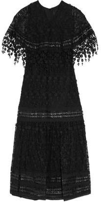 Anna Sui Leather-Trimmed Embroidered Mesh Maxi Dress