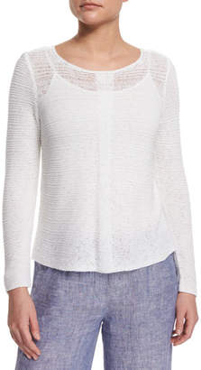 Nic+Zoe Plus Size Long-Sleeve Sheer Illusion Sweater Top