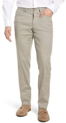 Monte Rosso Flat Front Stretch Linen & Cotton Trousers
