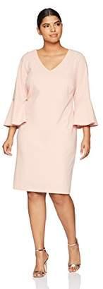 Ronni Nicole Women's Plus Size 3/4 Sleeve Pearl Trim Sheath Dress