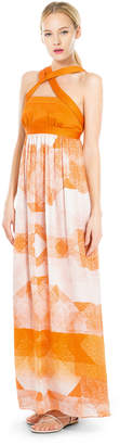 Max Studio printed & colour-blocked silk charmeuse long dress