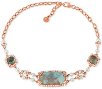 LeVian Le Vian Turquoise Aquaprase (20 x10mm, 6 x 6mm), White Topaz (9/10 ct. t.w.) & Cultured Freshwater Pearl (3mm) Link Bracelet in 14k Rose Gold