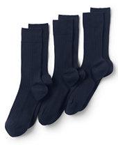 Lands' End Men's Seamless Toe Cotton Rib Dress Socks (3-pack)-True Navy