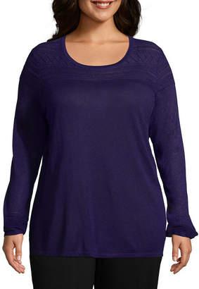 Liz Claiborne Pointelle Sweater- Plus