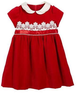 Florence Eiseman Velvet Lace-Trim Dress, Size 3-24 Months