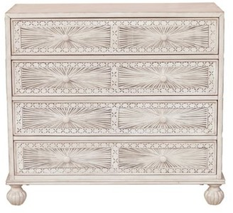 HomeFare Traditional Grey Hand Painted Four Drawer Accent Storage Chest