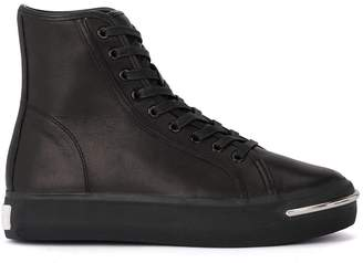 Alexander Wang Pia Black Leather High Top Sneaker